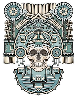 Stylized skull. Pagan god of death. Motives of art Native American Indian. Vector color illustration isolated on a white background. Ethnic design, boho chic. Print, posters, t-shirt, textiles.