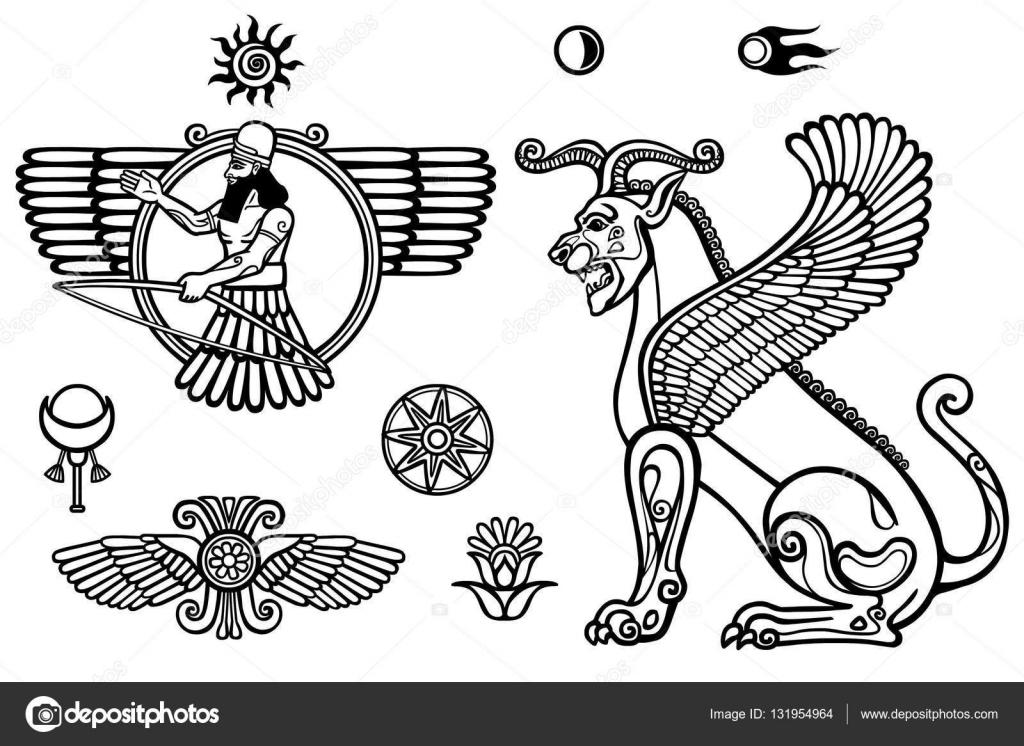 Sistema gráfico: figuras de la mitología Asiria - Dios alado y un ...