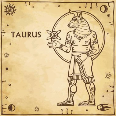 Zodiac sign Taurus. Image of the person - a centaur. Drawing on motives of Sumerian art. Full growth. Background - imitation of old paper, space symbols. The place for the text. Vector illustration.