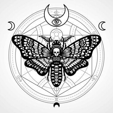 Decorative moth Dead Head. Mystical circle.Esoteric symbol, sacred geometry. Sign of the moon. Monochrome drawing isolated on a grey background. Vector illustration. Print, posters, t-shirt, textiles.