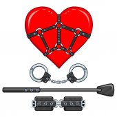 Photo Animation heart in a bondage. Set of erotic toys. The vector illustration isolated on a white background. Valentines Day card.