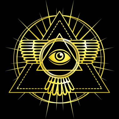 Eye of Providence. All seeing eye inside triangle pyramid. Esoteric symbol, sacred geometry. Gold imitation. Vector illustration isolated on a black background.