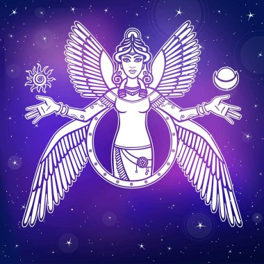 Vector illustration: stylized goddess Ishtar. Character of Sumerian mythology. Angel, queen, idol, mythical character. Background - the night star sky.