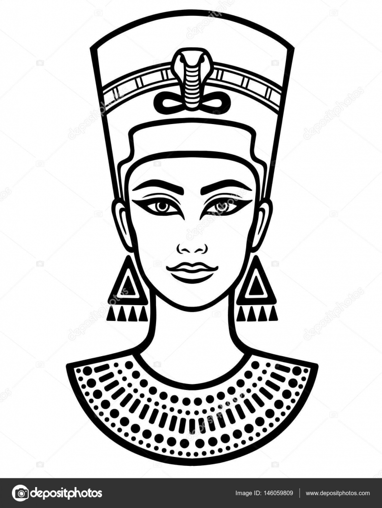 Animation portrait of the beautiful Egyptian woman. Black ...