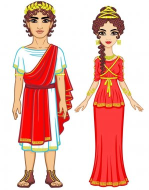 Animation portrait of a family in clothes of Ancient Greece. Full growth. The vector illustration isolated on a white background.