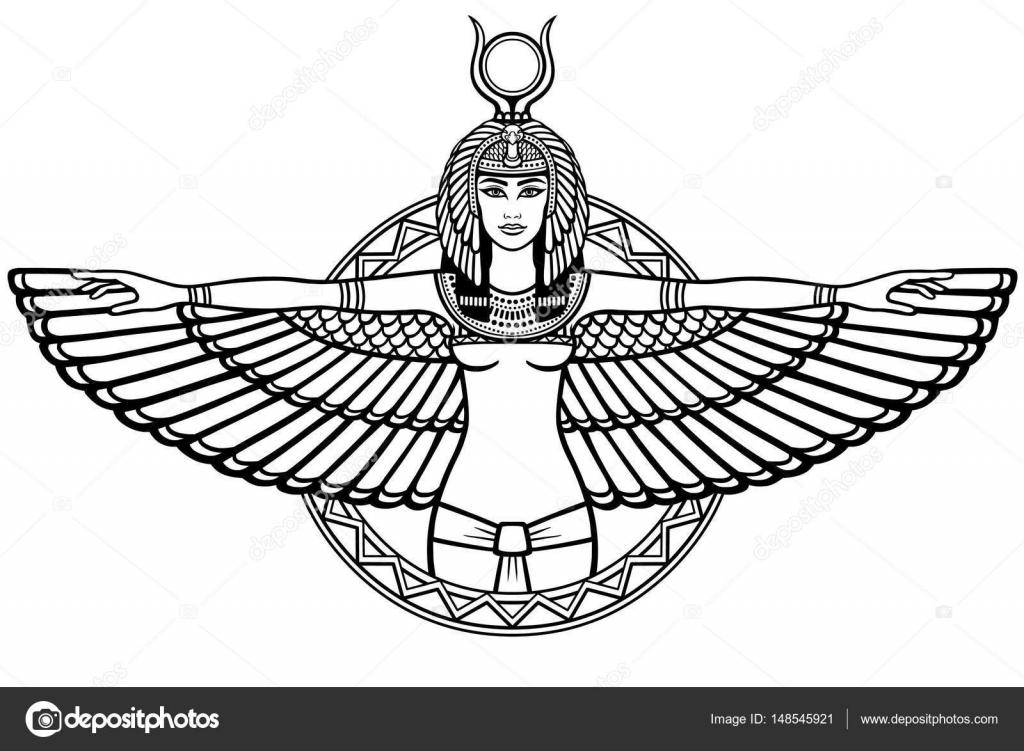 Retrato de la animación del egipcio antiguo alada diosa. El dibujo ...