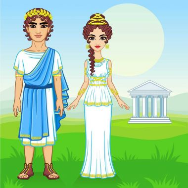 Animation portrait of a family in clothes of Ancient Greece. Background - the mountain valley, the antique temple. Vector illustration.