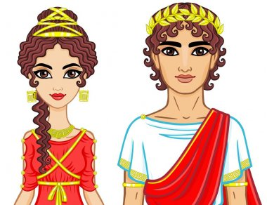 Animation portrait of a family in clothes of Ancient Greece. The vector illustration isolated on a white background.