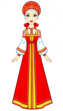 Animation portrait of the beautiful girl in an ancient Russian dress. Sundress, kokoshnik. Full growth. Vector illustration isolated on a white background.