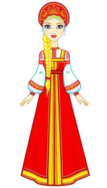 Animation portrait of the Russian girl in ancient clothes. Sundress, kokoshnik. Full growth. Vector illustration isolated on a white background.