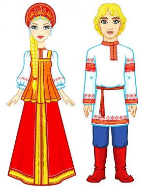 Animation portrait of a family in ancient Russian clothes.  Full growth. Vector illustration isolated on a white background.