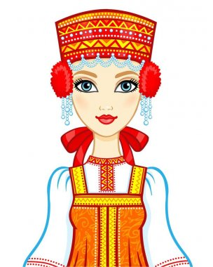 Animation portrait of the Russian girl in ancient clothes.  Vector illustration isolated on a white background.