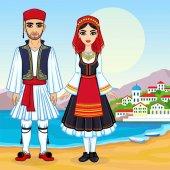 Fényképek Animáció portréja családi ókori görög ruhát. Teljes növekedés. Háttér - a tengeri táj, a hegyek, a régi kikötő város. Vektoros illusztráció