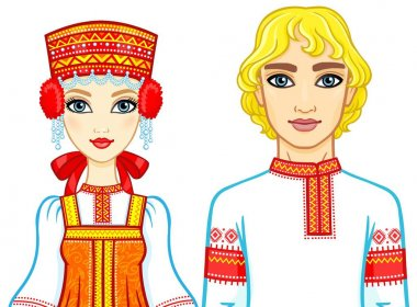 Animation portrait of a family in ancient Russian clothes. Vector illustration isolated on a white background.