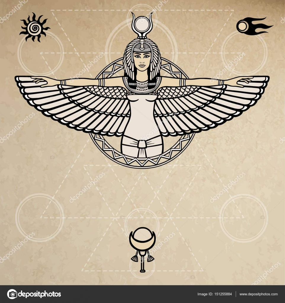 Animation portrait of the ancient egyptian winged goddess space animation portrait of the ancient egyptian winged goddess space symbols sacred geometry vector biocorpaavc