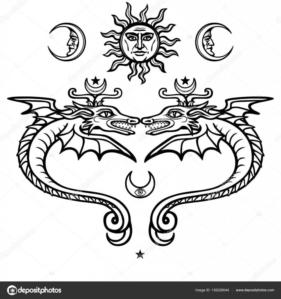 Dos Serpientes Aladas Místicos Símbolos Alquímicos Religión