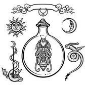 Alkímiai szimbólumok gyűjteménye. Élet eredete. Misztikus entitás egy kémcsőbe. Vallás, misztikum, okkultizmus, boszorkányság. Vektoros illusztráció elszigetelt fehér background.