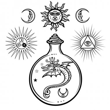 Set of alchemical symbols. Origin of life. Mystical snakes in a flask. Religion, mysticism, occultism, sorcery.Vector illustration isolated on a white background.