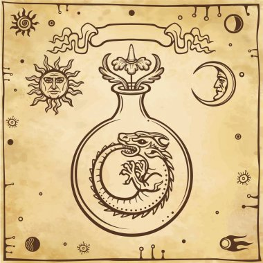 Set of alchemical symbols. Origin of life. Mystical snakes ouroboros in a test tube. Religion, mysticism, occultism, sorcery.  Background - imitation of old paper. Vector illustration.