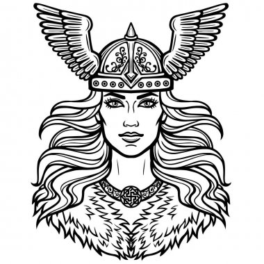 Portrait of the beautiful young woman Valkyrie in a winged helmet. Pagan goddess, mythical character. Linear black the white drawing. Vector illustration isolated on a white background.