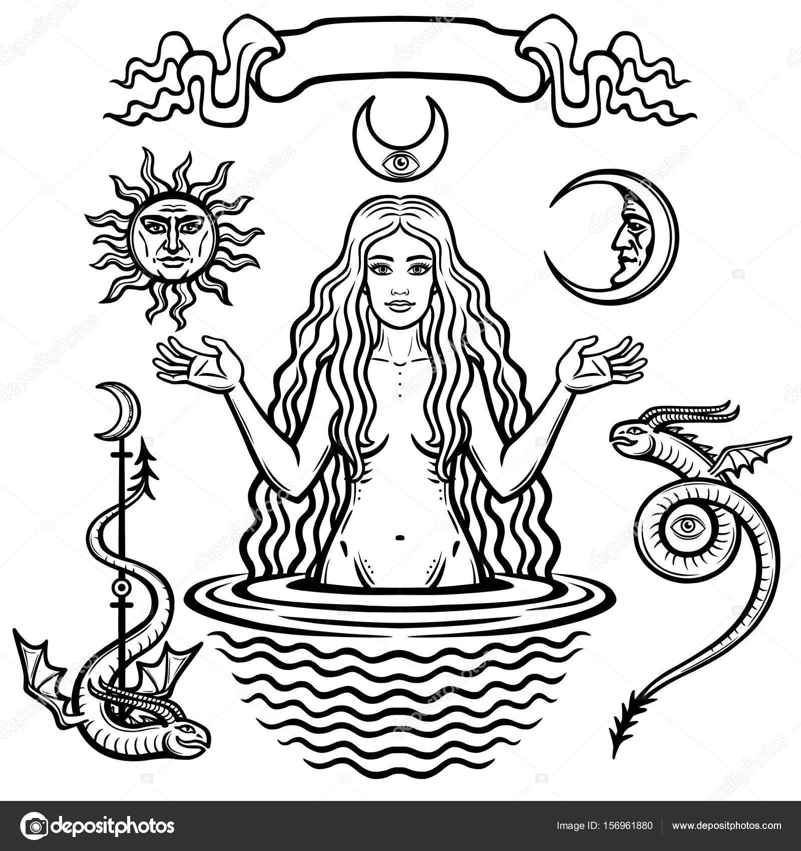 Set of alchemical symbols young beautiful woman holds sun and set of alchemical symbols young beautiful woman holds sun and moon in hand eves image fertility temptation esoteric mystic occultism biocorpaavc