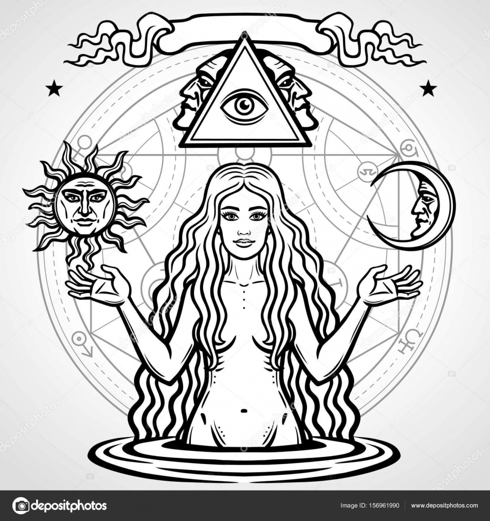 Set of alchemical symbols young beautiful woman holds sun and moon set of alchemical symbols young beautiful woman holds sun and moon in hand eves biocorpaavc Images