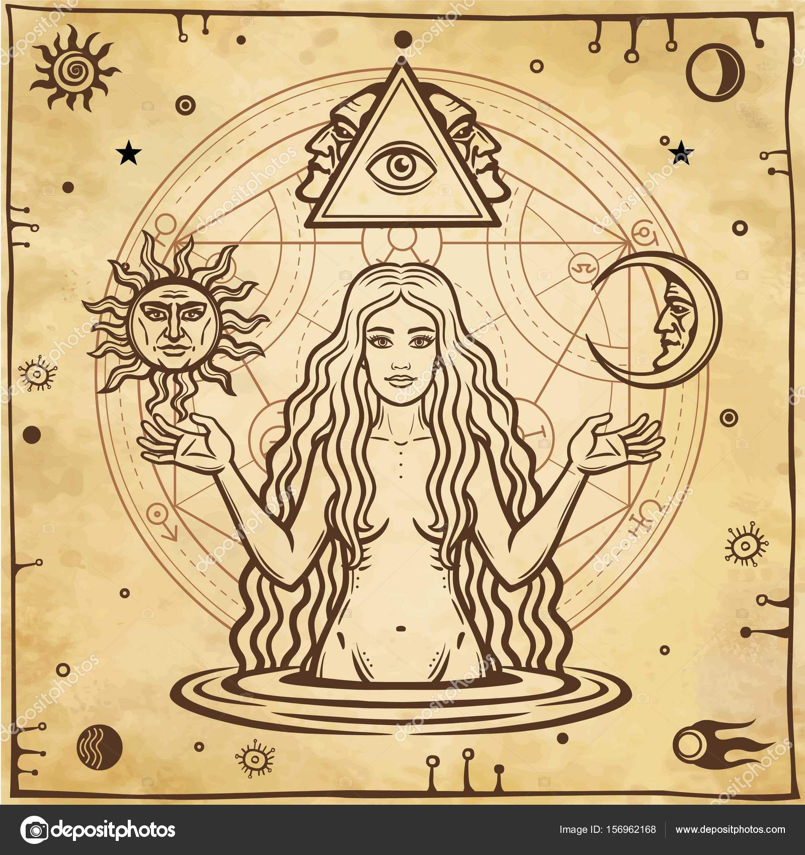 Alchemical drawing young beautiful woman eves image fertility alchemical drawing young beautiful woman eves image fertility temptation esoteric mystic occultism symbols of the sun and moon biocorpaavc