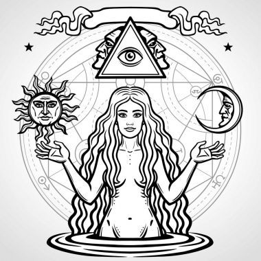 Set of alchemical symbols: young beautiful woman holds  sun and  moon in hand. Eve's image, fertility, temptation. Esoteric, mystic, occultism. Vector illustration isolated on a  grey background.