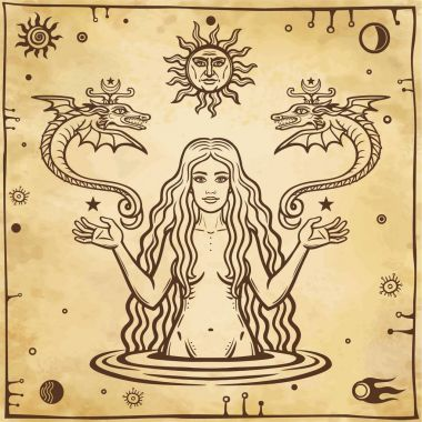 Alchemical drawing: young beautiful woman holds winged snakes in hand. Esoteric, mystic, occultism. Symbols of the sun and moon. Background - imitation of old paper. Vector illustration.