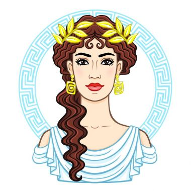 Animation portrait of the young beautiful Greek woman in ancient clothes in a laurel wreath. Decorative circle. The vector illustration isolated on a white background.