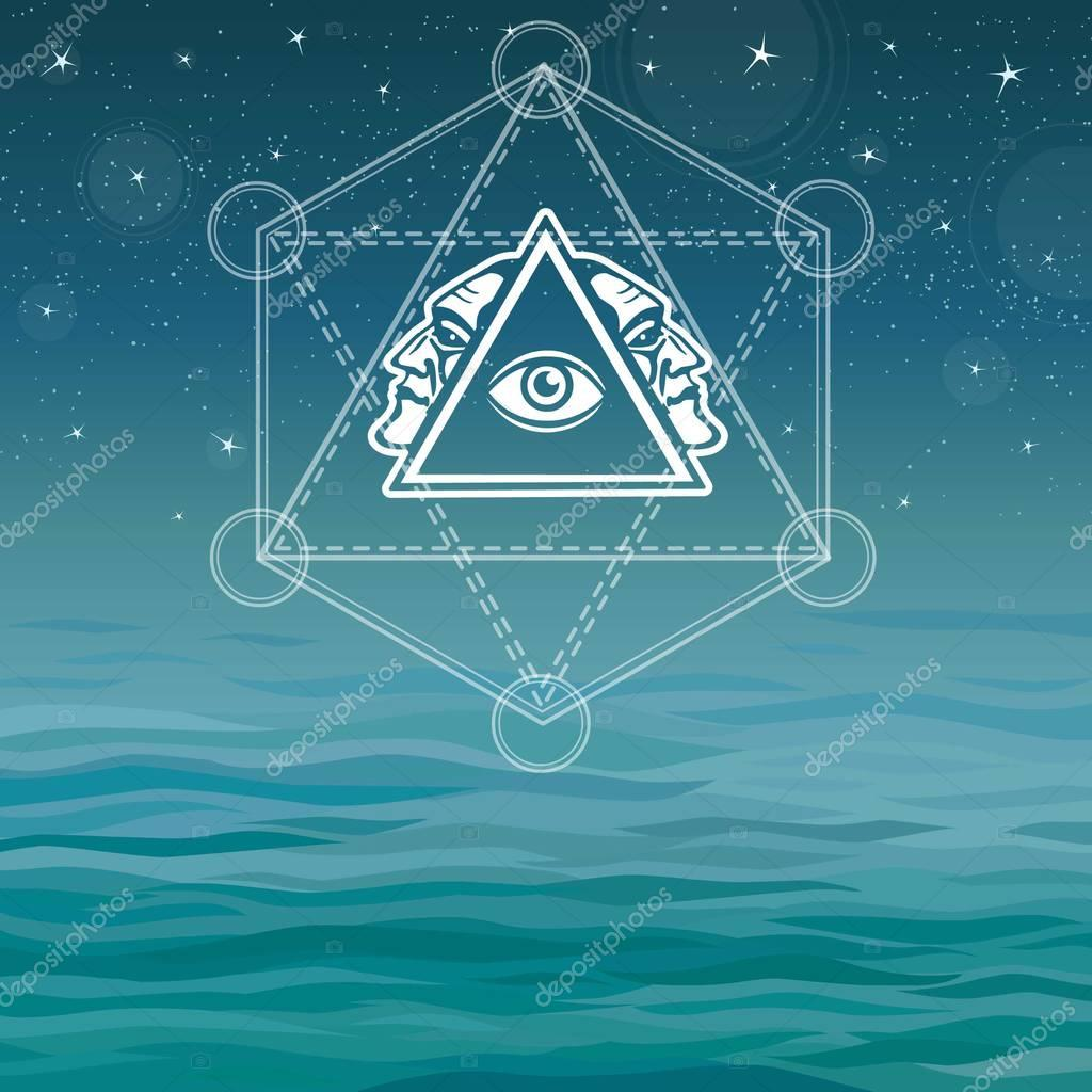 Mystical image of a pyramid, providence eye, profile of the person. Sacred geometry. Esoteric, mystic, occultism. Background - the night stellar sky, ocean waves. Vector illustration.