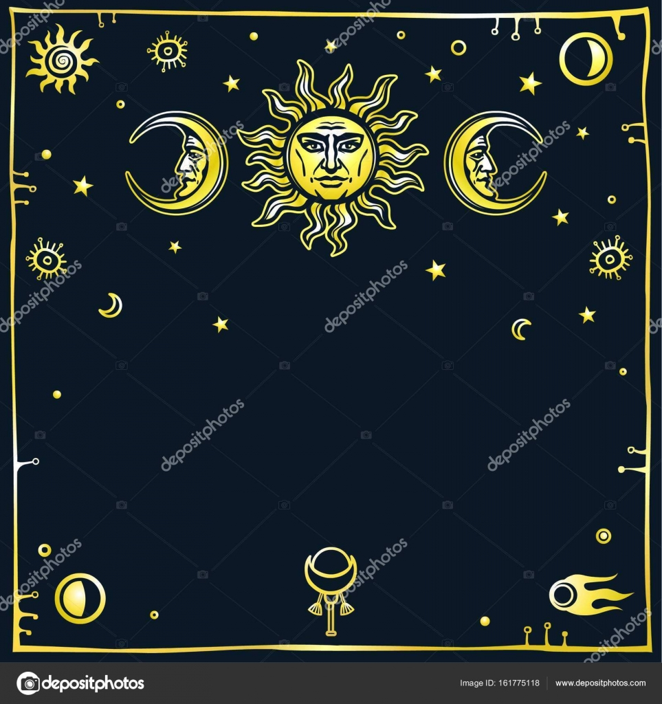 Image of the sun and the moon with human facescorative frame image of the sun and the moon with human facescorative frame space symbols biocorpaavc Images