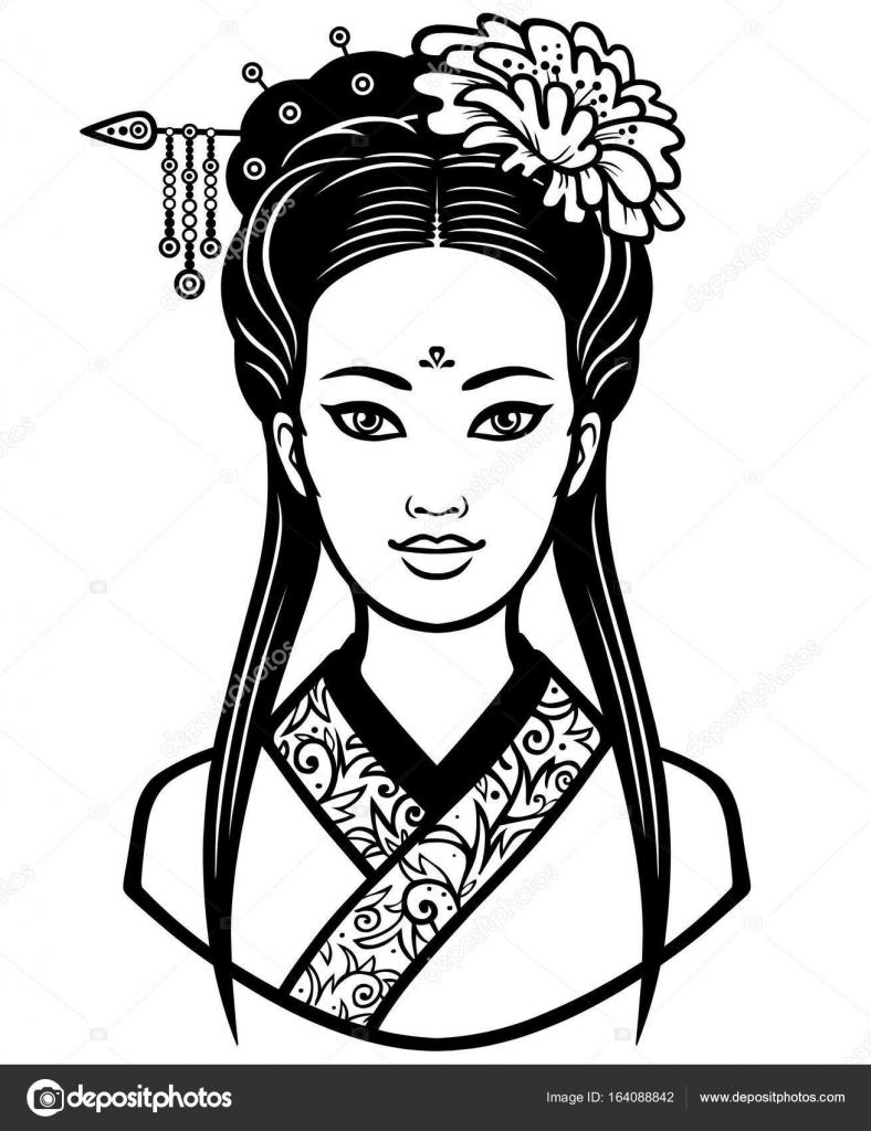 Retrato de la joven China con un peinado antiguo. Ilustración de ...