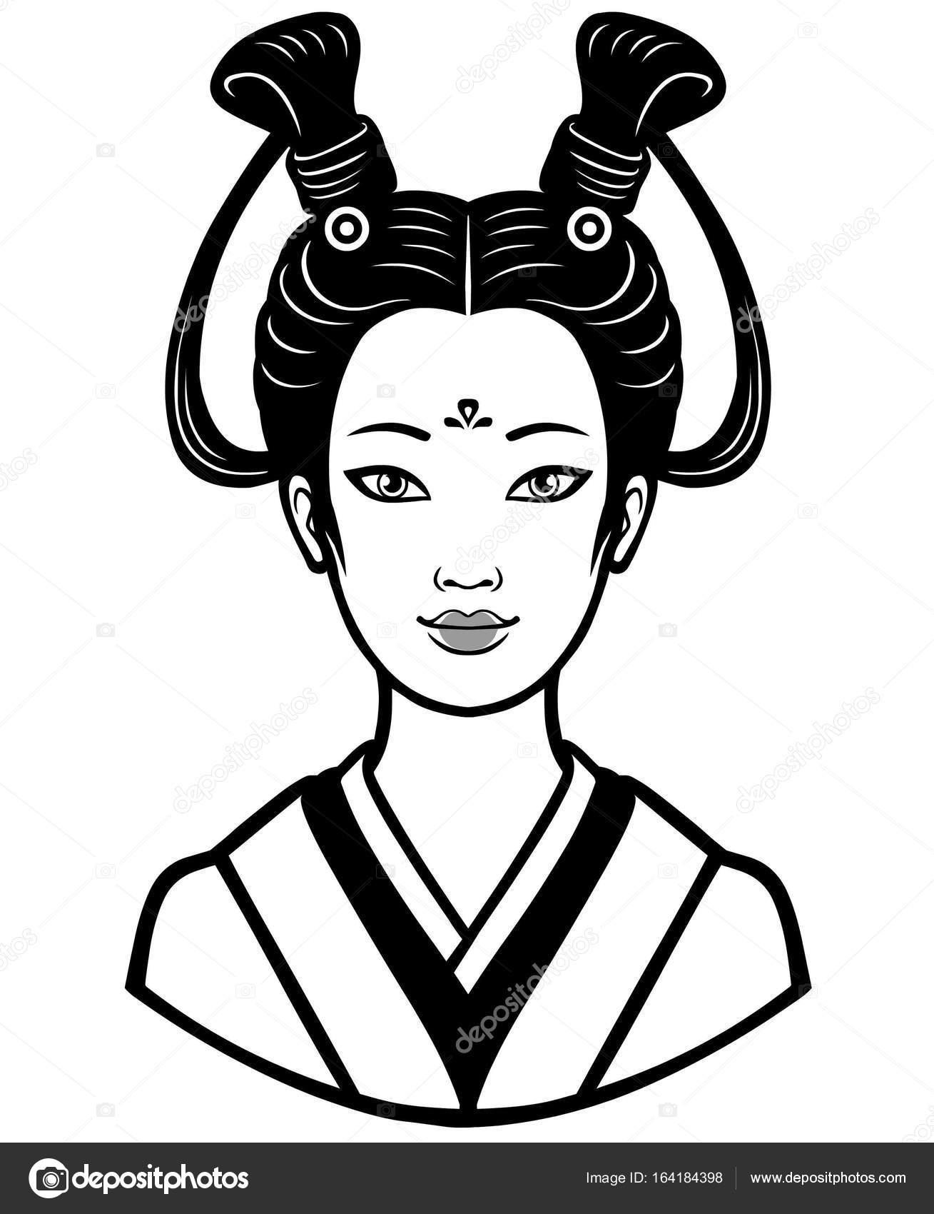 Retrato de la joven japonesa con un peinado antiguo. Ilustración de ...