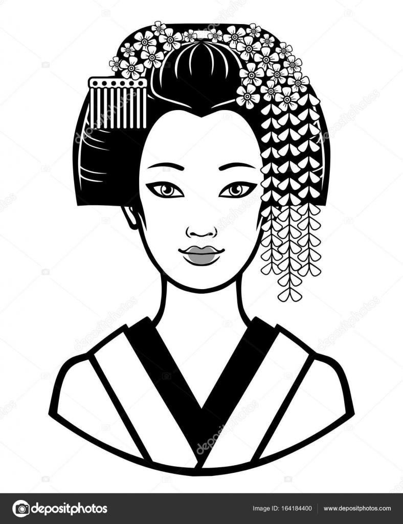 Portrait de la jeune fille japonaise avec une coiffure ancienne.  Illustration de vecteur monochrome isolé