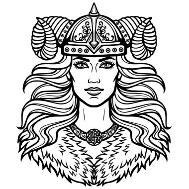Portrait of the beautiful young woman Valkyrie in a  horned helmet. Pagan goddess, mythical character. Vector illustration isolated on a white background. Print, poster, t-shirt, card.