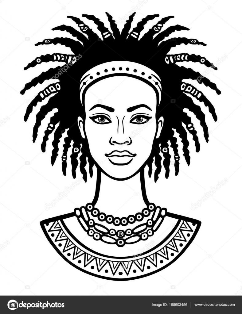 Dessin De Femme Africaine portrait d'animation de la jeune femme africaine. dessin linéaire