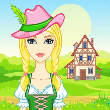 Animation portrait young beautiful girl in an ancient Bavarian dress. Background - a summer landscape, the old house. Fairy tale character, card, poster, print, vector illustration.