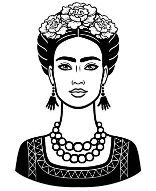 Animation portrait of the young beautiful mexican woman with a traditional hairstyle. Vector illustration isolated on a white background. Print, poster, emblem, card, t-shirt.