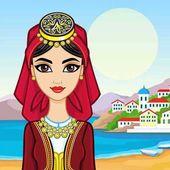 Fényképek A szép, fiatal lány a görög ruha animáció portréja. Háttér - a tengeri táj, a hegyek, a régi kikötő város. Vektoros illusztráció