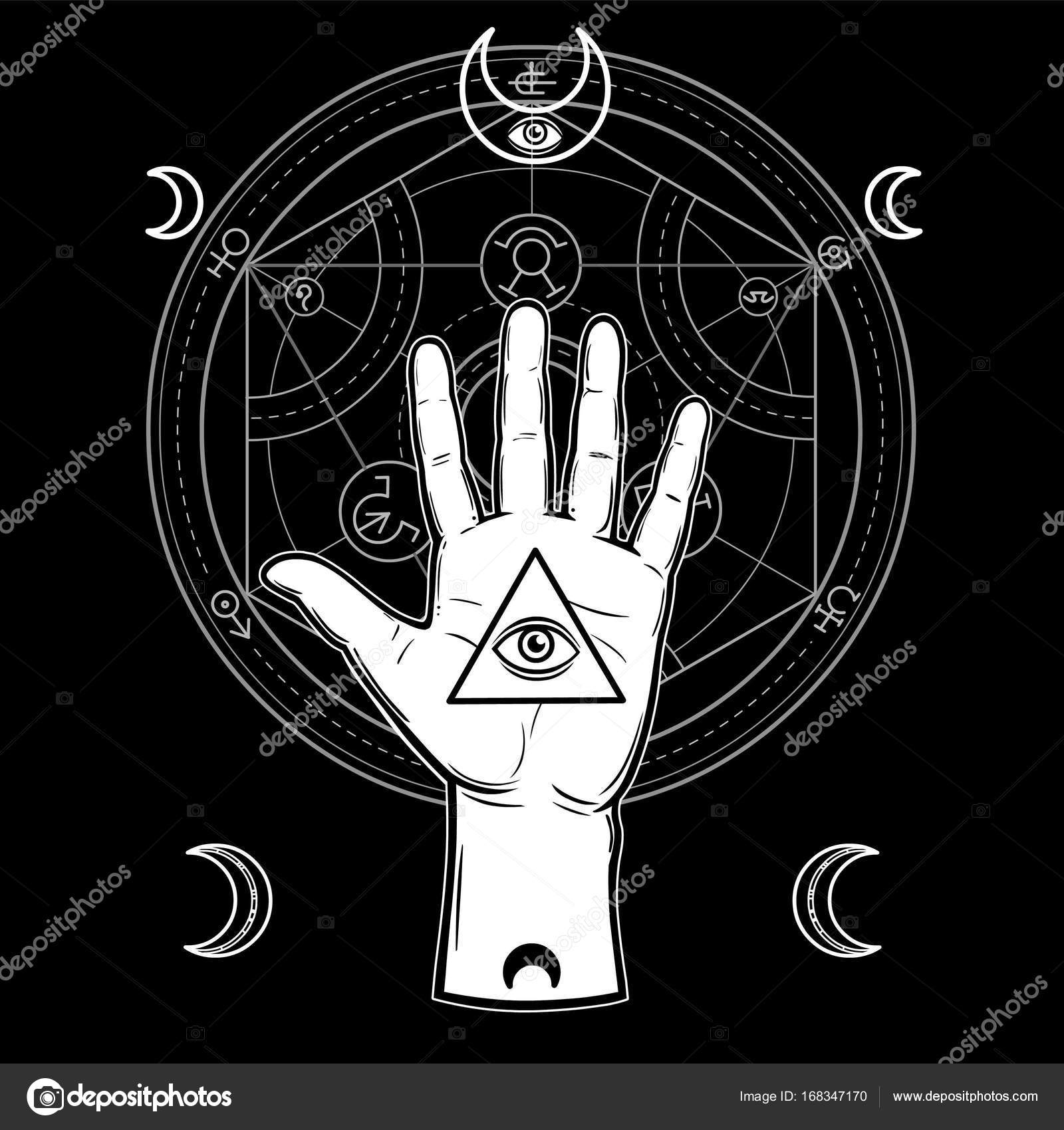 Human Hand Holds A Sacred Pyramid Of Knowledge An All Seeing Eye