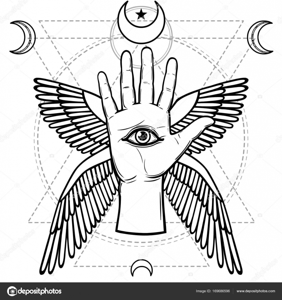 Mystical symbol human hand eye of providence sacred geometry mystical symbol human hand eye of providence sacred geometry esoteric religion occultism vector illustration isolated on a white background biocorpaavc Gallery