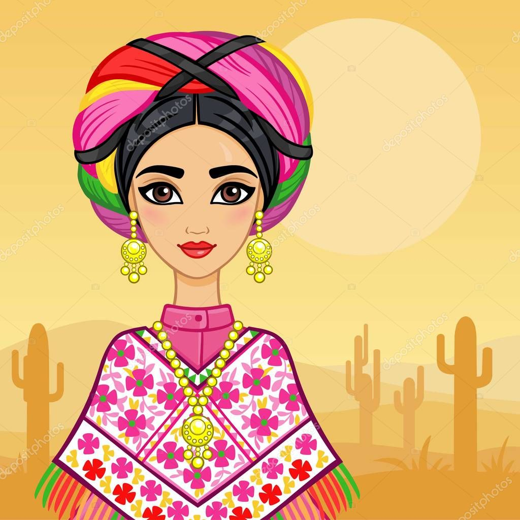 Animation portrait of the young Mexican girl in ancient clothes. A background - the desert with cactus. Vector illustration. A card, a poster, the invitation, the place for the text.