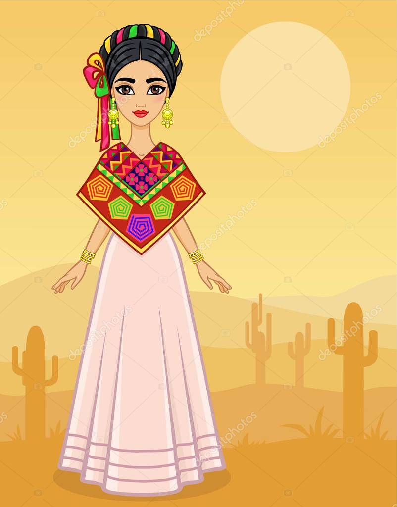 Animation portrait of the young Mexican girl in ancient clothes. Full growth. A background - the desert with cactus. Vector illustration. Card,  poster,  invitation, the place for the text.