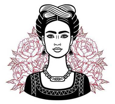 Portrait of the beautiful Mexican girl in ancient  clothes, background - the stylized roses. Vector illustration isolated on a white background. Print, poster, t-shirt, card.