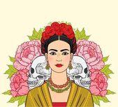 Fotografia Ritratto di bella donna messicana in vestiti antichi, teschi umani, un background - la rose stilizzate. Annata: boho chic, etnico. Illustrazione vettoriale isolato. Stampa, carta poster, t-shirt,