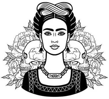 Portrait of the beautiful Mexican girl in ancient  clothes, human skulls, background - the stylized roses. Vector illustration isolated on a white background. Print, poster, t-shirt, card.