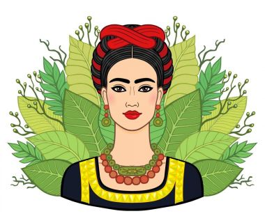 Portrait of the beautiful Mexican woman in  ancient  clothes, a background - the stylized leaves of plants. Boho chic, ethnic, vintage. Vector illustration isolated. Print, poster, t-shirt, card.