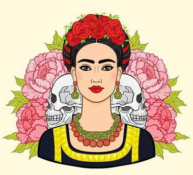 Portrait of the beautiful Mexican woman in  ancient  clothes, human skulls, a background - the stylized roses. Boho chic, ethnic, vintage. Vector illustration isolated. Print, poster, t-shirt, card.