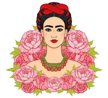 Portrait of the beautiful Mexican woman  an ancient hairstyle, a background - the stylized roses. Boho chic, ethnic, vintage. Vector illustration isolated. Print, poster, t-shirt, card.